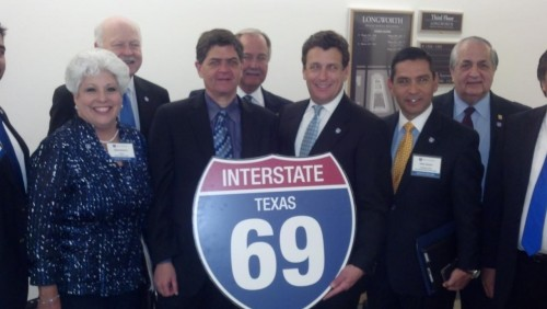 Pictured above left to right: Honorable Mayor Corpus Christi Nelda Martinez, Congressman Filemon Vela, Alliance for I-69 Texas Board Member Alan Johnson, TxDOT Commissioner Jeff Austin, Julian Alvarez, Laredo City Manager Carlos Villarreal